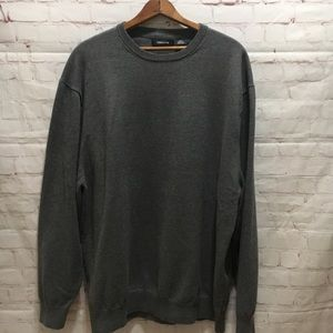 Men's gray cotton blend crew neck sweater 2XL Tall